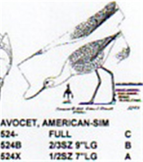 American Avocet Feeding Carving Pattern showing the shorebird with it's head down in a feeding position.