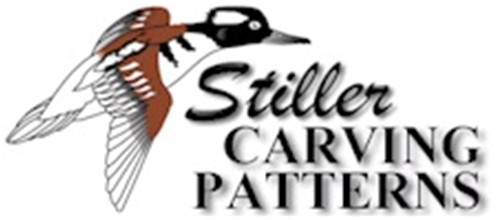 Bahamas Pintail Male Flying/Landing Carving Pattern showing the Stiller logo.