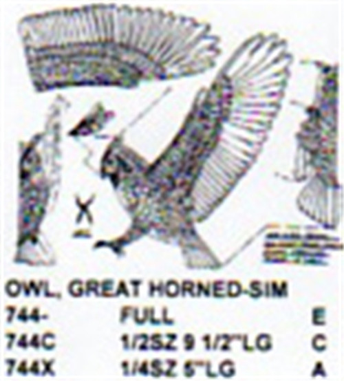 Great Horned Owl Flying/Attacking Carving Pattern showing the Owl with it's wings spread in a predatory posture