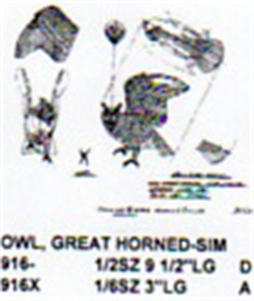 Great Horned Owl Open Wing Carving Pattern showing the Owl with wings open, head turned,  in a standing position.