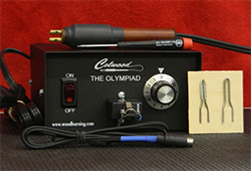 Olympiad Woodburning Unit with Hot Knife, 2 Hot Knife tips, Ultra-flex 18 gauge cord.
