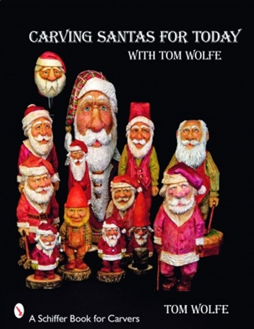 Carving Santas for Today showing several different hand carved Santa's