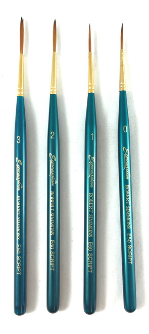 Robert Simmons Expression Script Liner Paint Brushes.  Shown in Size 0-3