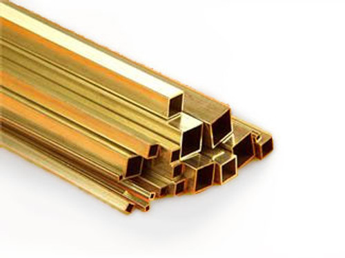 Square brass tubing in various sizes.