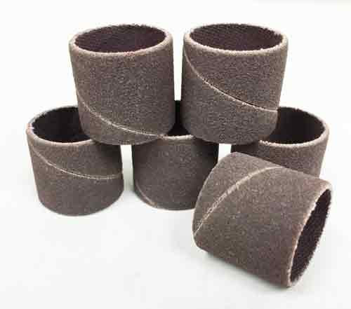 "Spiral sanding sleeves pack of 6 that are 3/4"" diameter and 3/4"" long."