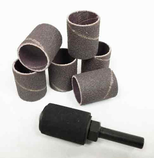 """Sanding Sleeves and Sanding Drum with a 3/4"""" Diameter and 1"""" long."""