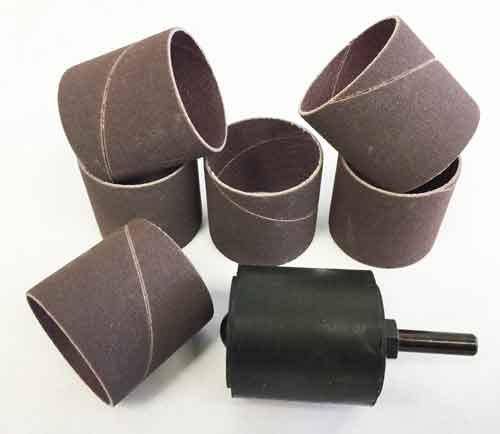 """A sanding drum that is 1 1/2"""" x 1 1/2"""" and a package of 6 sanding sleeves that are also 1 1/2"""" x 1 1/2"""""""