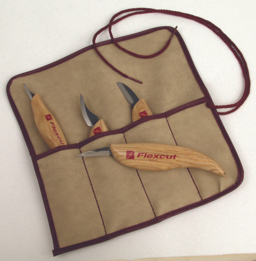 Flexcut Carving Knife Set showing the tool roll which is included.