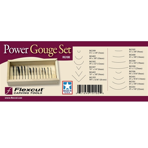 Flexcut 14pc Power Gouge are used mainly for roughing out and fine detailing smaller edge profiles with razor sharp blades.