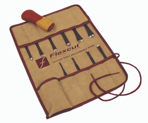 Flexcut 11 Pc. Craft Carver Set tool roll includes in 11 pc. set.