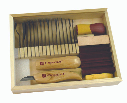 Flexcut 21 Pc. Deluxe Starter Set includes, two interchangeable handles, 16 Razor sharp blades, 90 min carving DVD, cutting knife, sharpening compound and slip strop.