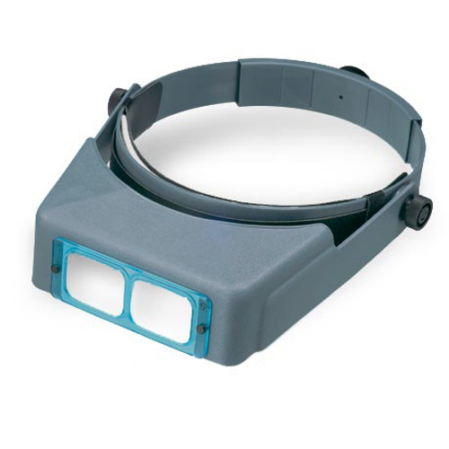 Optivisor that includes a headband and lens plate.