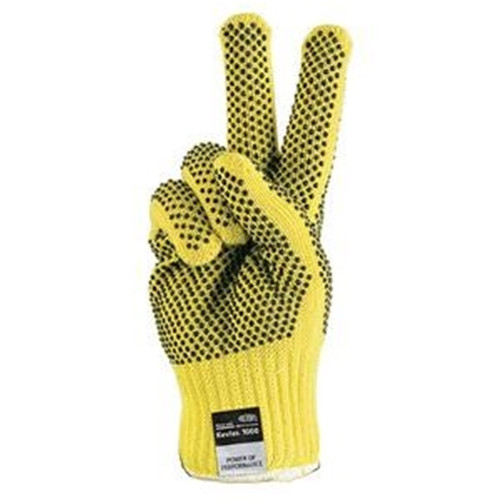 Kevlar Glove has PVC plastic dotted spots for gripping power.