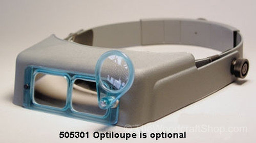 Optiloupe shown on a headband.