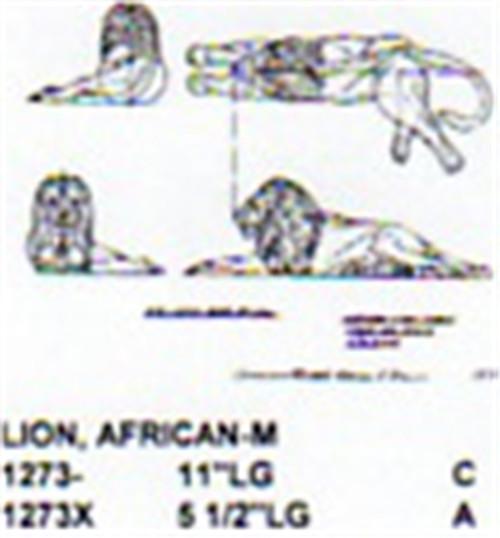 "African Lion Lying Down 11"" Long"