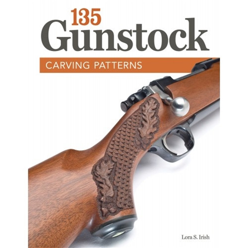 135 Gunstock Carving Patterns showing the cover of the book with checkering pattern, and Oak leaves.