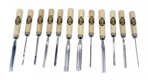 Two Cherries Set of 12 Professional Carving Tools showing all 12 tools.