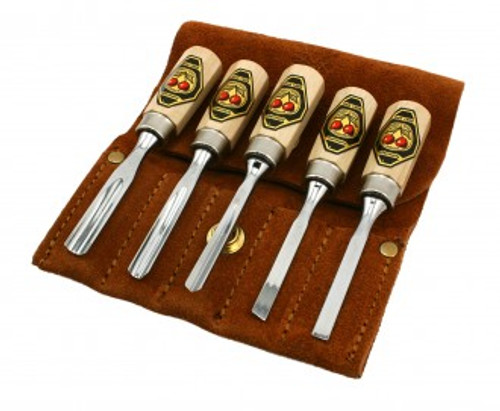 Two Cherries Miniature Carving Tool Set showing  all five tools with leather carrying case.