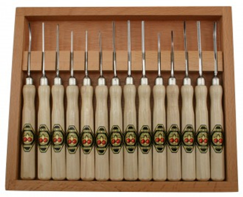 Two Cherries Micro Carving Set with 14 tools and wooden storage box.