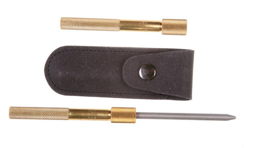 Eze-Lap Diamond Pocket Sharpener shown with sharpener and tool pouch included