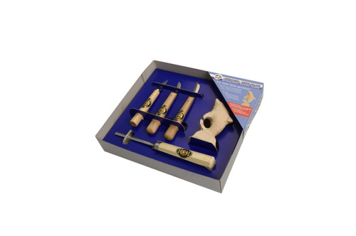 Two Cherries Dolphin Carving Set with tools features a dolphin carving blank, and carving tools to complete the Dolphin and get started in carving.