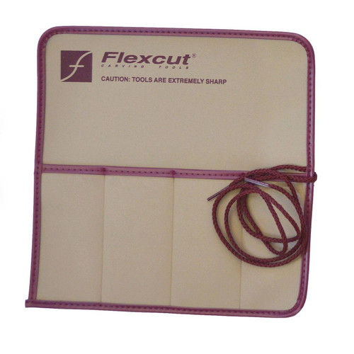 Flexcut 4 Pocket Knife Roll made in the USA with heavy duty vinyl and  attached corded string.