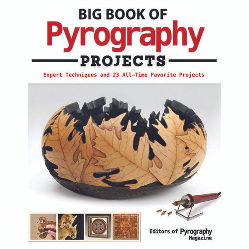 Big Book of Pyrography Projects contains images of wood working  leaf bowl project, duck decoy, female lion, and wood burning art