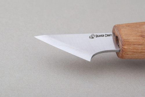 Beaver Craft Skewed Geometric Knife showing the sharp blade,
