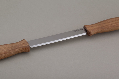 Beaver Craft Draw Knife with Oak Handle showing the razor sharp blade.