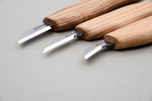 This is a close up view of the chip carving knives.