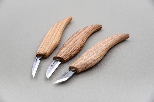 Beaver Craft Starter Wood Carving Knife Set showing all three knives from front profile.