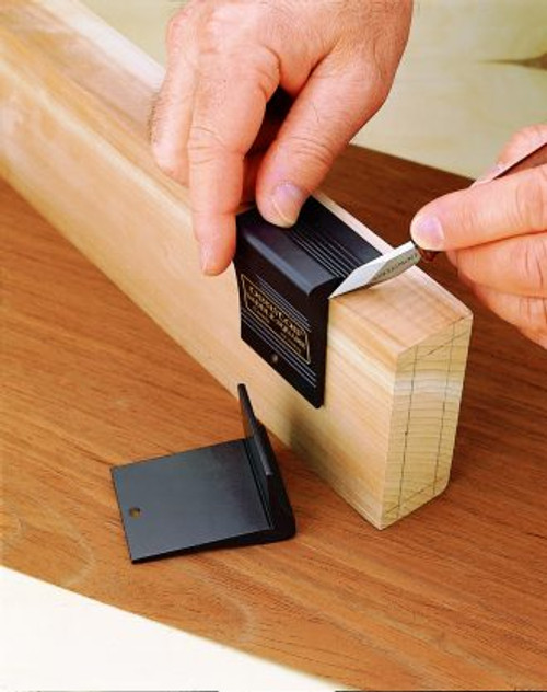 Saddle Square is a handy tool for transferring a layout line from an angled surface to another.