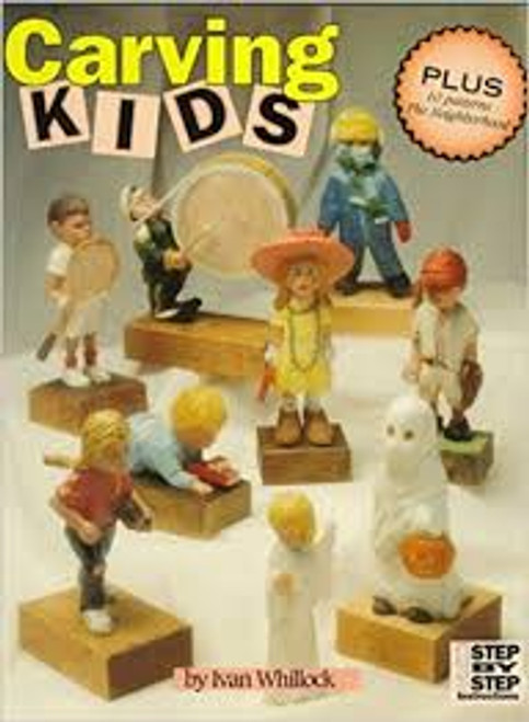 Showing the front cover of Carving Kids with  a variety of caricatures.