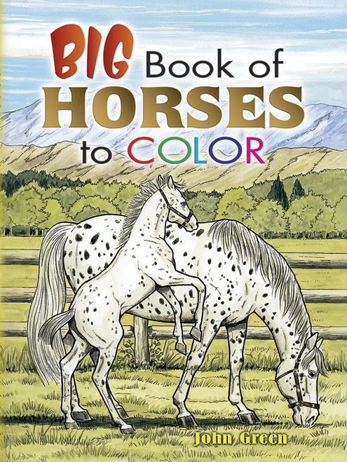 Big Book Of Horses To Color showing a mare and her colt.