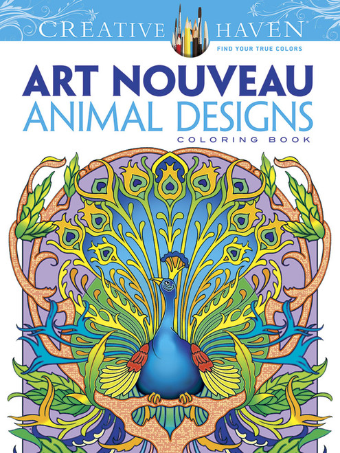 Art Nouveau Animal Designs Coloring Book showing an intricate Peacock.