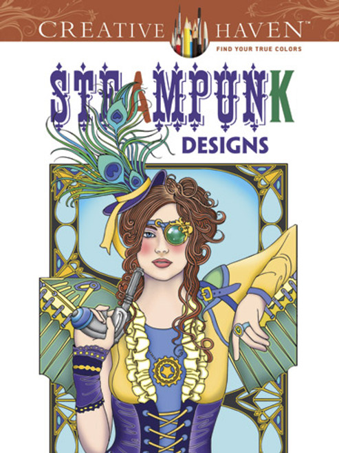 Steampunk Designs Coloring Book showing a woman in eccentric clothing holding a gun.