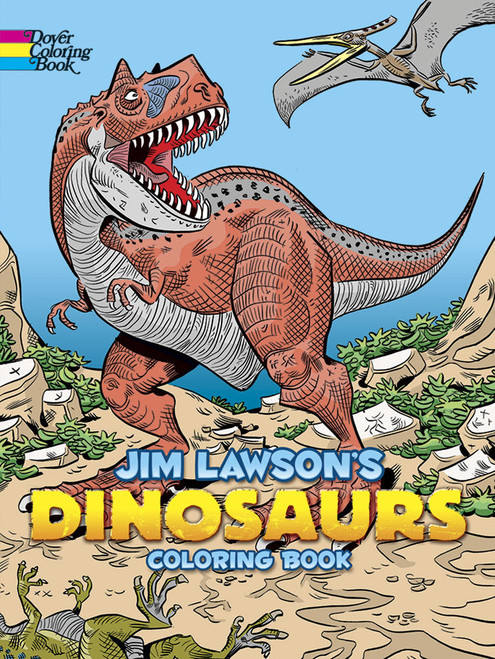Jim Lawson's Dinosaurs Coloring Book showing a dinosaur  with teeth showing.