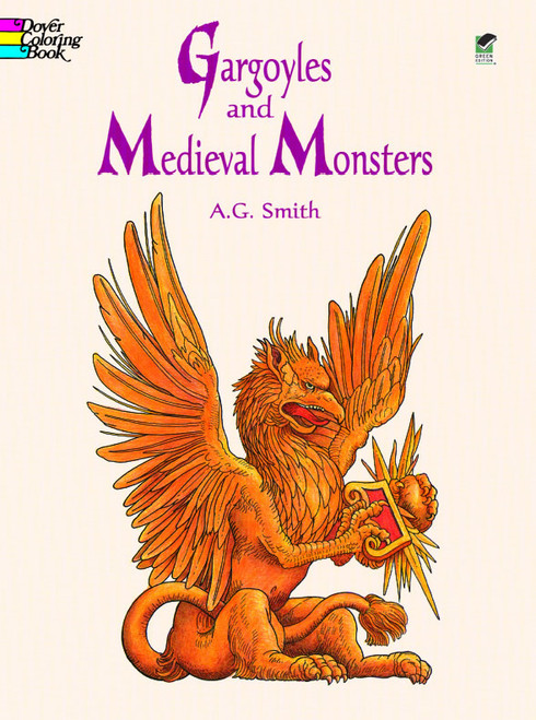 Gargoyles Medieval Monsters Coloring Book showing the Griffin in a sitting position.