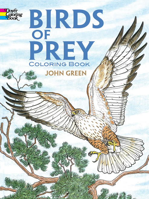 Birds Of Prey Coloring Book showing a hawk with wings out flying over the top of a tree.