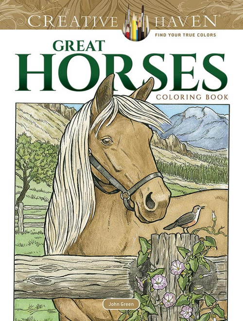Great Horses Coloring Book showing a horse in a field with fence in front of it.