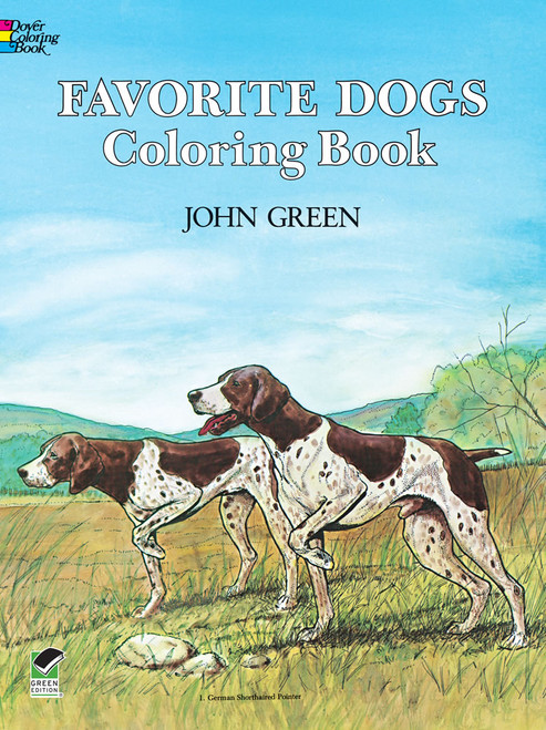 Favorite Dogs Coloring Book showing two dogs pointing in a field.