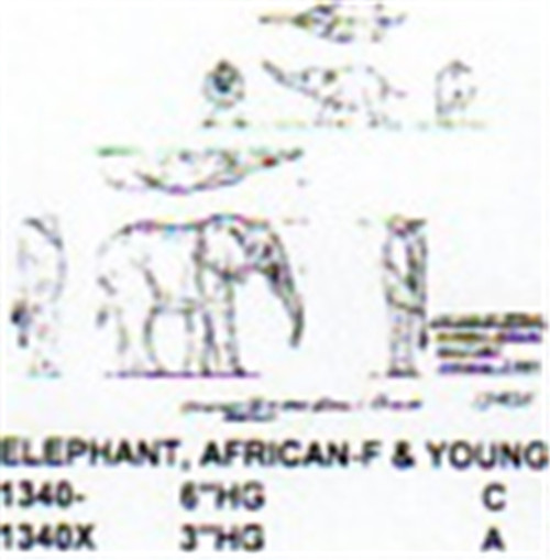 """African Elephant Female Standing with Young 3"""" High"""