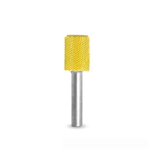 "SaburrTooth 1/2 x 3/4 Cylinder (Fine) showing the round yellow cylinder with 1/4"" shank."