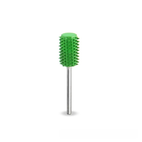 "SaburrTooth 1/4"" x 1/2"" Safe End Cylinder ( Coarse) showing the green bur with 3/32"" shank."