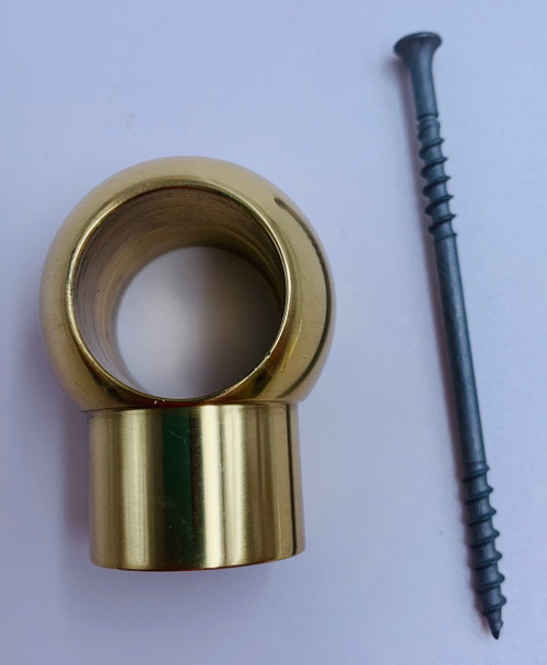 Brass T Handle Coupler For Canes showing an image of the side profile.