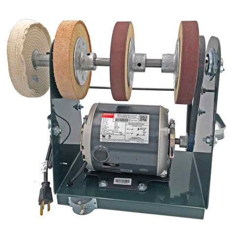 Burke Tote Sharpening system straight front view showing the motor, frame and sharpening wheels.