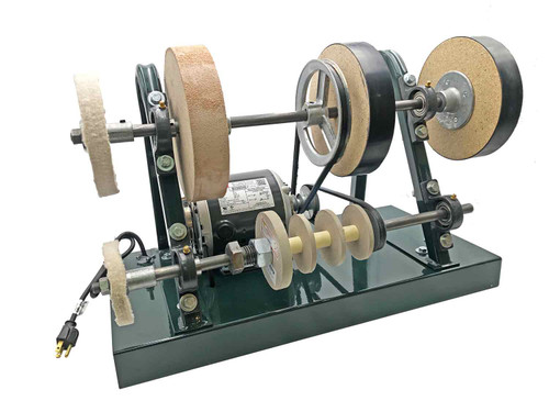 Burke Complete Sharpening System showing a front view of the frame, 2 buffing wheels, stropping wheel, 2 abrasive wheels, 4 paper wheels, motor and pulleys.