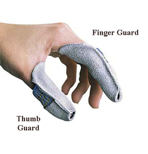 A hand showing the leather thumb guard and leather finger guard.