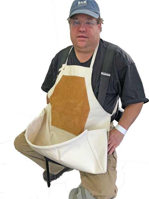 Carver's leather front apron with pouch shown on person.