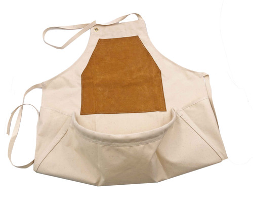 carver's leather front apron laying flat with pouch.